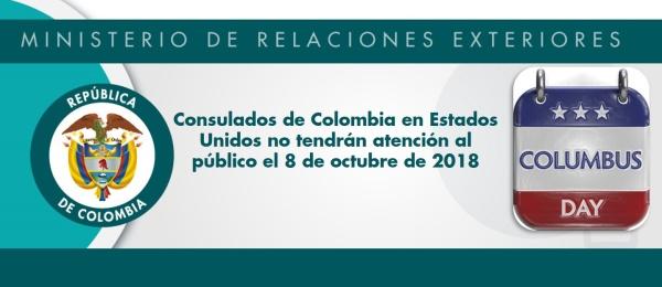 Consulados de Colombia en Estados Unidos no tendrán atención al público el 8 de octubre de 2018, con motivo del Día de Cristóbal Colón