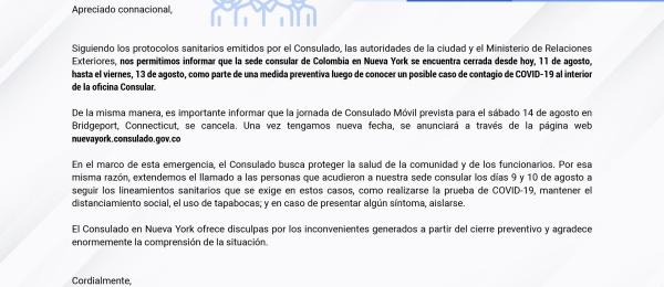Mensaje a la comunidad con ocasión del cierre preventivo de la sede consular