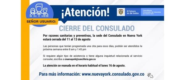 El Consulado de Colombia en Nueva York estará cerrado del 11 al 13 de agosto