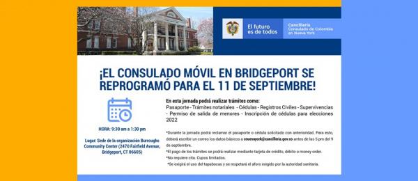 El Consulado en Nueva York estará el sábado 11 de septiembre en Bridgeport con el Consulado
