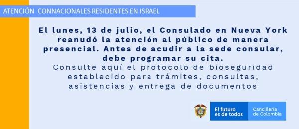 El lunes, 13 de julio, el Consulado en Nueva York reanudó la atención al público