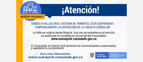 El Consulado de Colombia en Nueva York suspende temporalmente la expedición de la Tarjeta Consular tras una falla en la plataforma