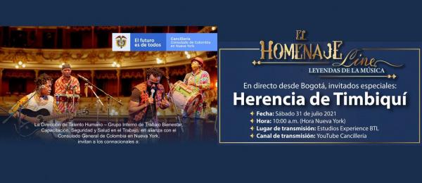 El Consulado de Colombia en Nueva York invita a conectarse al homenaje a Herencia de Timbiquí, el 31 de julio de 2021