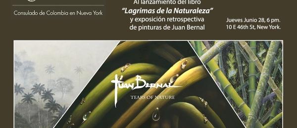 Artista colombiano Juan Bernal llega al Consulado de Colombia con su libro y exposición de pintura 'Lágrimas de la Naturaleza'