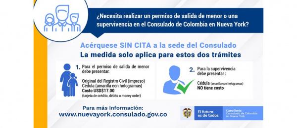 ¿Necesita realizar un permiso de salida de menor o una supervivencia en el Consulado de Colombia en Nueva York?