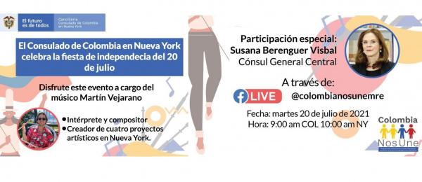 El Consulado de Colombia en Nueva York le invita a celebrar las fiestas de Independencia con música tradicional colombiana