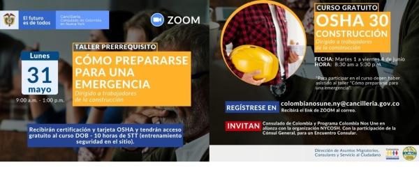 OSHA 30 horas de la Construcción y cómo prepararse para una emergencia, dos talleres a los que pueden acceder sin costo alguno la comunidad colombiana en Nueva York