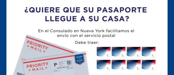 Consulado en Nueva York facilita el envío del pasaporte a su lugar de residencia: al solicitarlo debe presentar sobre certificado y estampillas por un valor de 11.65 dólares