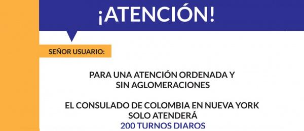 Para una atención ordenada y sin aglomeraciones el Consulado de Colombia en Nueva York solo atenderá 200 turnos